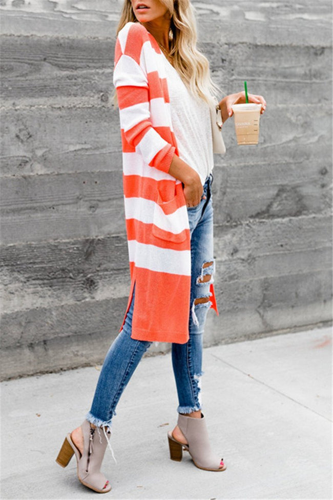 Voyagal Long Sleeve Open Front Color Block Striped Duster Cardigan
