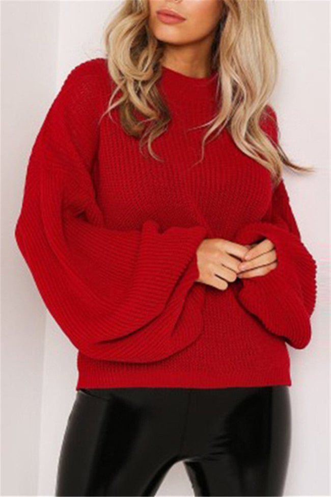 Voyagal Round Neck Loose Fitting Soild Sweater