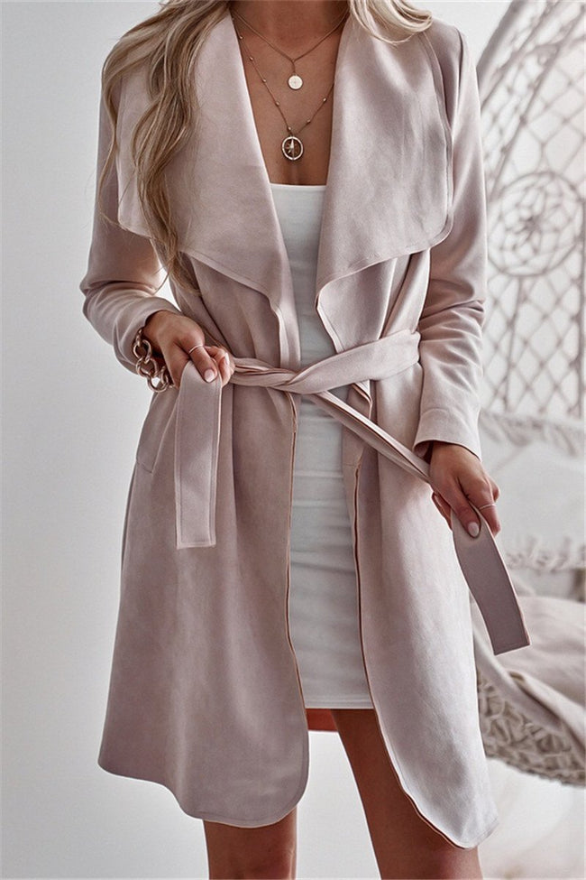 Voyagal Suede Long Sleeve Tie Waist Trench Coat