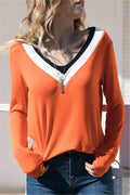 Voyagal Trendy V Neck Long Sleeves T-shirt