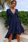 Voyagal V Neck Tie Waist High Low Casual Midi Dress
