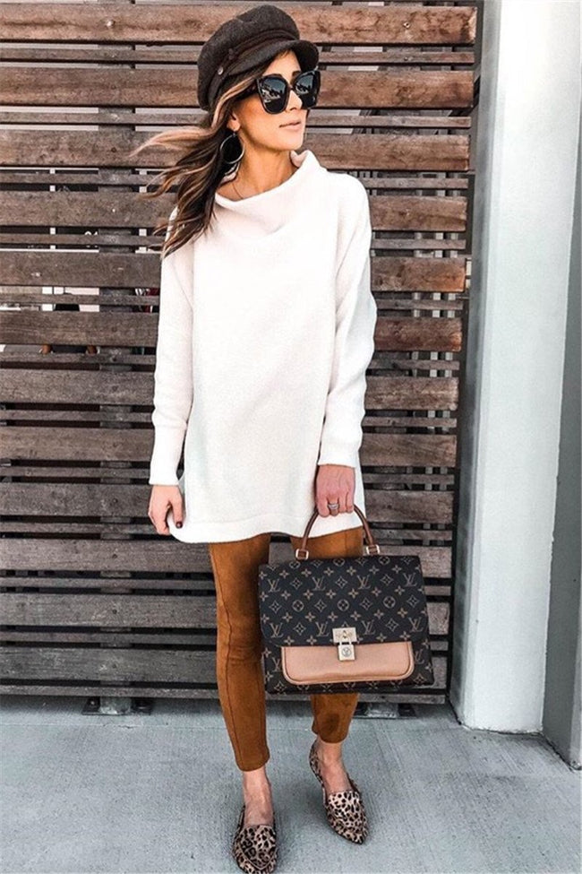 Voyagal Turtleneck Solid Long Sleeve Sweater Dress