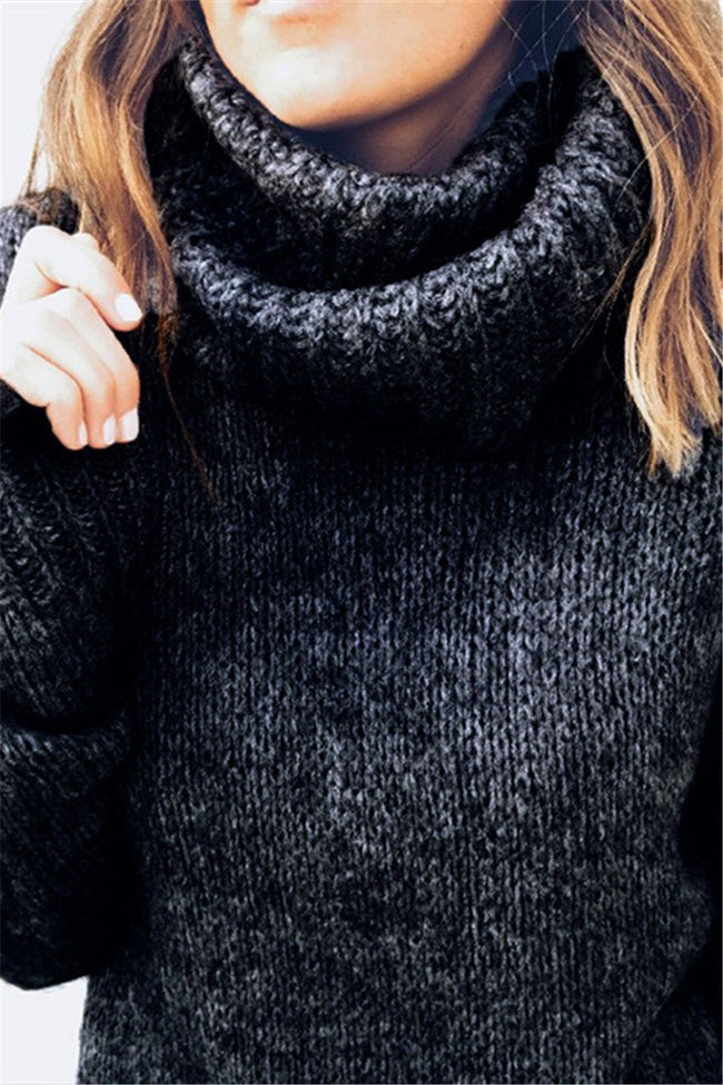 Voyagal Casual Turtleneck Soild Sweater