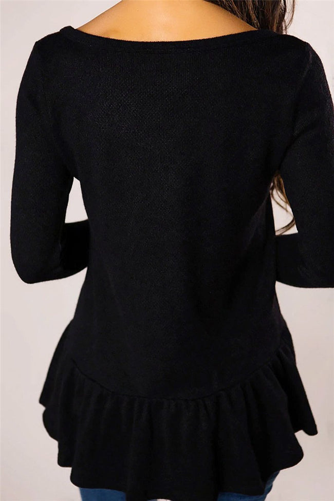 Voyagal V Neck Long Sleeve Buttoned Ruffled T-Shirts