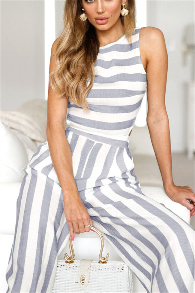 Voyagal Casual Striped High Waist Wide Leg Jumpsuits