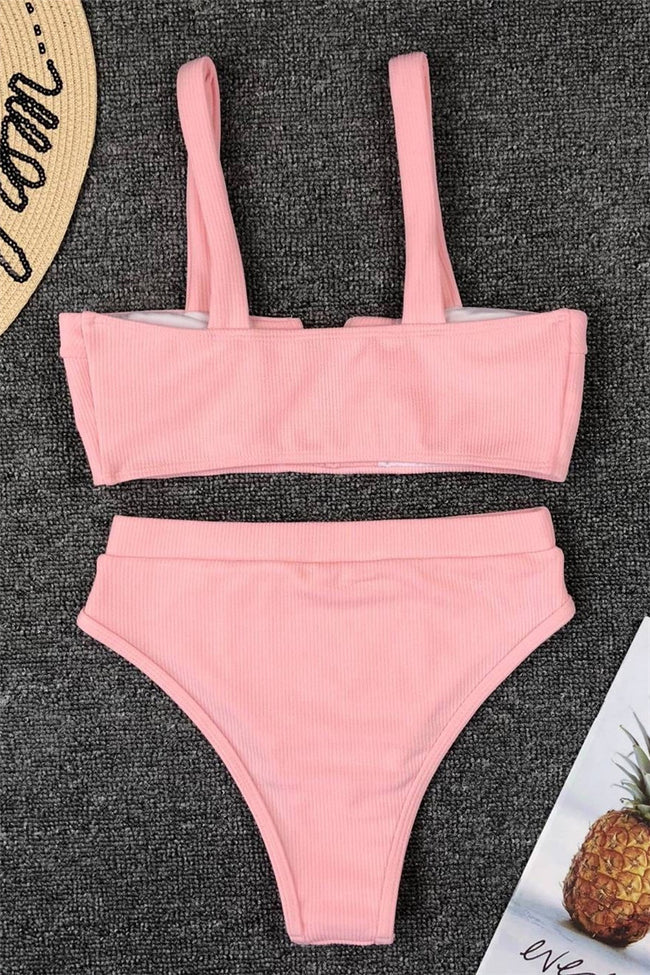 Voyagal Split Neck Solid Bikini Set