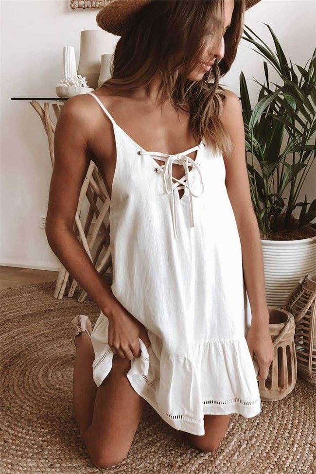 Voyagal Summer Spaghetti Strap A-Line Tie Mini Dress