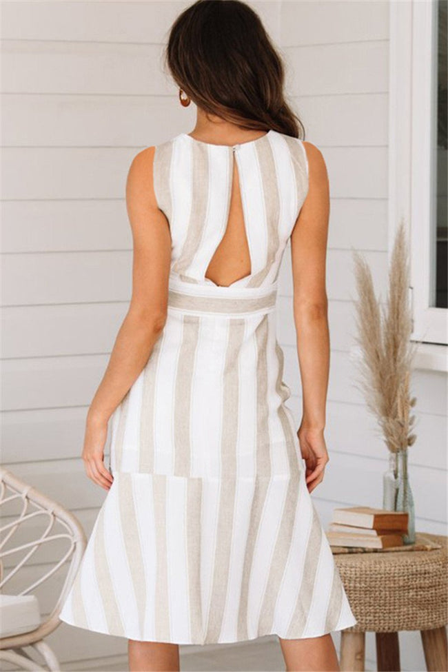 Voyagal Striped Open Back Midi Dress