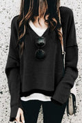 Voyagal Solid Long Sleeve V-neck Casual Hoodie