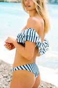 Voyagal Nautical Stripe Stitching Bikini Set