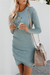 Voyagal Ruched Fitted Long Sleeve Mini Dress