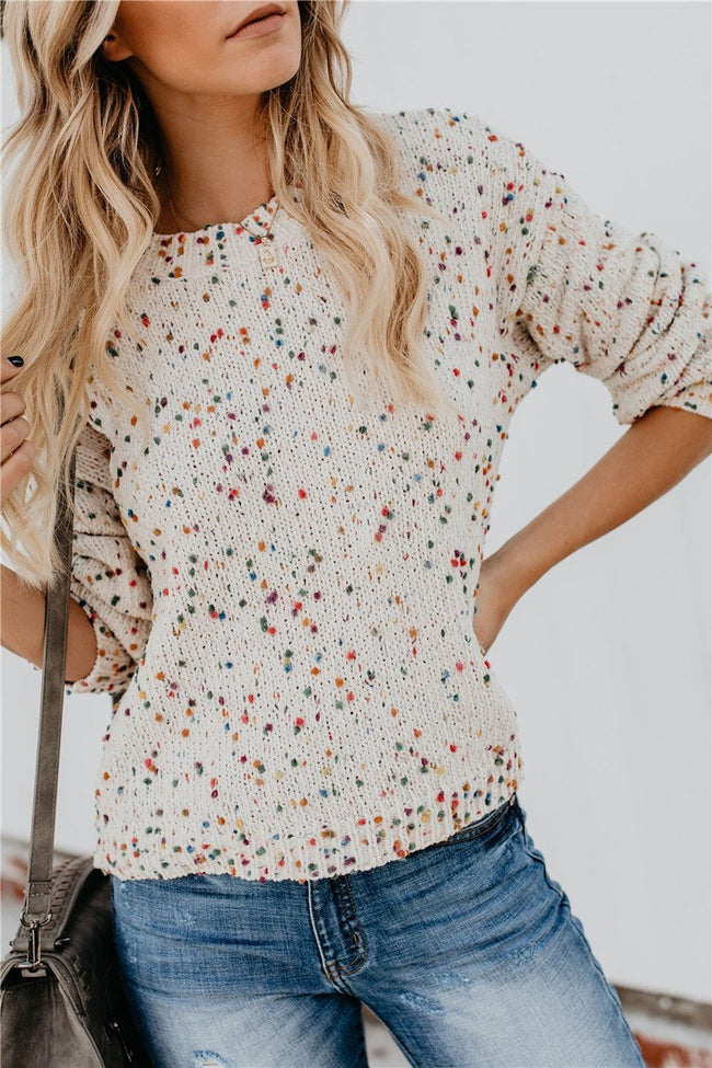 Voyagal Colorful Wave Dot Sweater