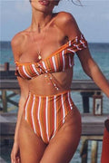 Voyagal Pretty Orange Striped Two-piece Swimwears