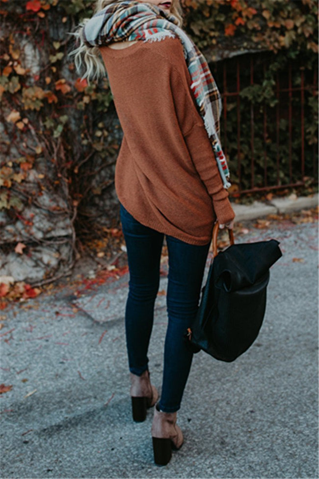 Voyagal Long Sleeve Round Neck Knits Sweater