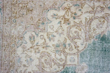 Load image into Gallery viewer, Distressed Oushak Rug 7'4 x 10'9 Pale Forest Green, Mauve and Beige
