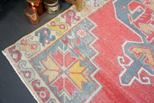Load image into Gallery viewer, 4'3 x 9'4 Oushak Wide Runner Rug Faded Red, Gray, Apricot, Mustard and Cream Carpet