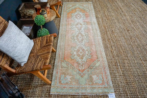 Sold ABD*2'8 x 8'10 Vintage Turkish Runner Muted Greige, Apricot, Green and Aqua