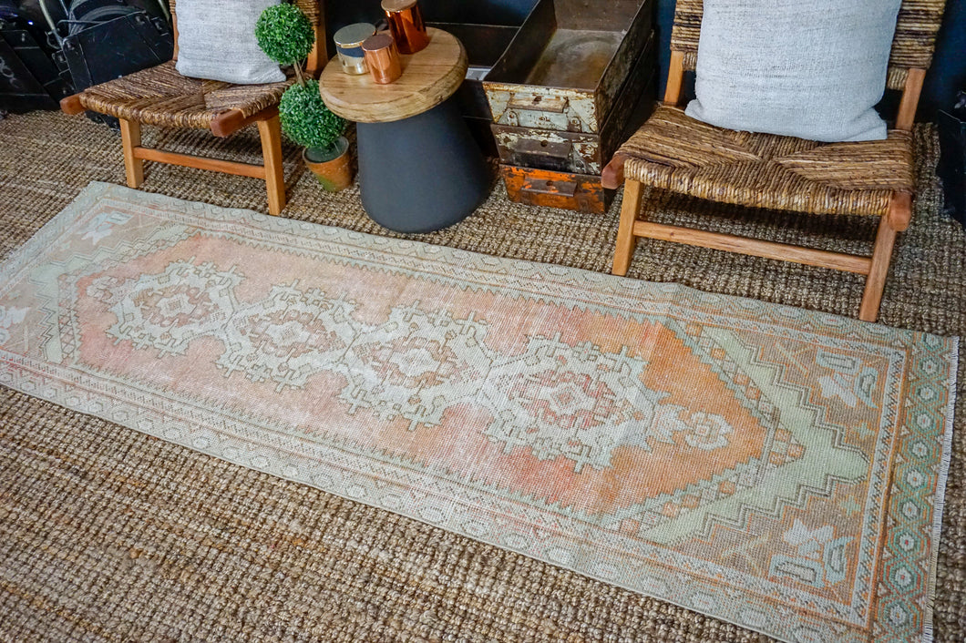 2'8 x 8'10 Vintage Turkish Runner Muted Greige, Apricot, Green and Aqua