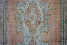 Load image into Gallery viewer, Sold ABD*2'8 x 8'10 Vintage Turkish Runner Muted Greige, Apricot, Green and Aqua