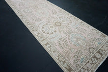 Load image into Gallery viewer, Turkish Oushak Runner 2'6 x 19'2 Pink Blue + Brown