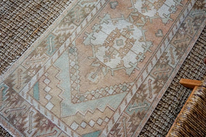2'10 x 9'4 Vintage Turkish Runner Muted Blush Beige, Green, Cream and Brown