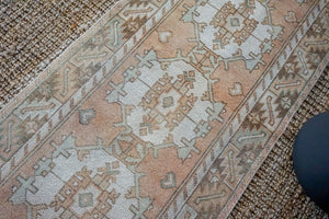 Sold 8/20*2'10 x 9'4 Vintage Turkish Runner Muted Blush Beige, Green, Cream and Brown