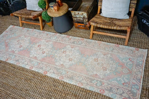 3' x 9'8 Vintage Turkish Runner Muted Orange, Mint Green and Cream
