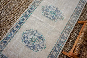 3'1 x 11'9 Vintage Turkish Runner Muted Navy Blue, Teal Green and Beige