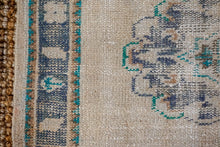 Load image into Gallery viewer, 3'1 x 11'9 Vintage Turkish Runner Muted Navy Blue, Teal Green and Beige