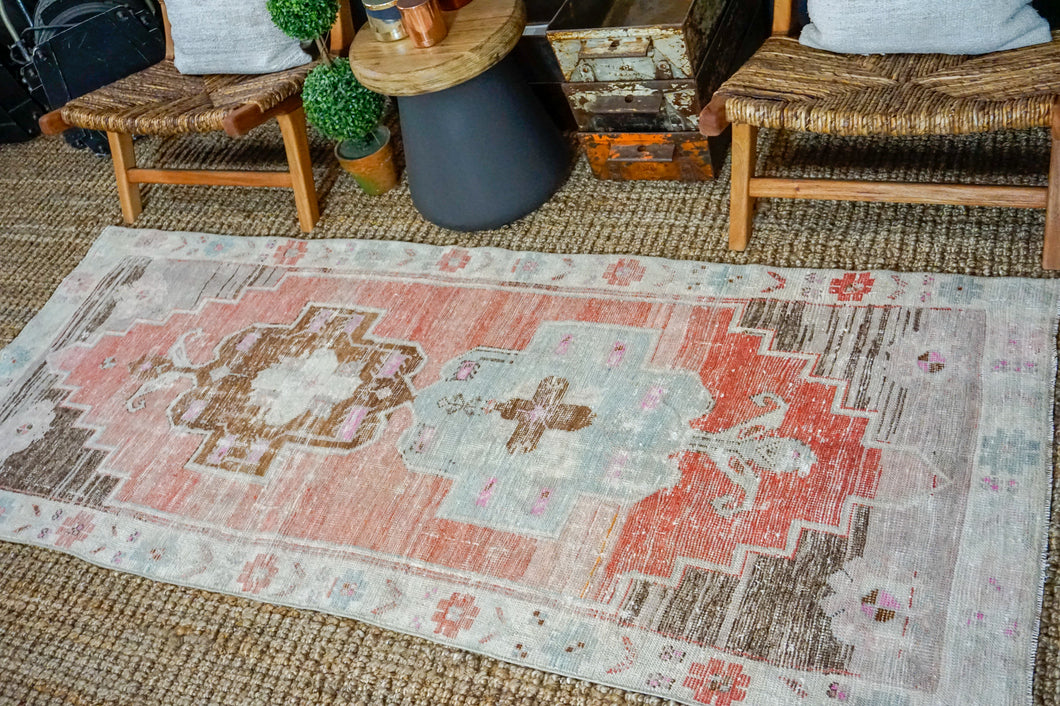 3'2 x 8' Vintage Turkish Runner Muted  Reds, Blue and Greige