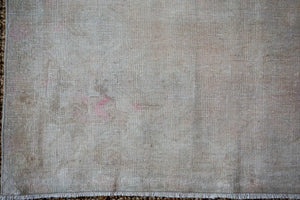 4'6 x 7'9 Oushak Rug Muted Gray, Pink and Olive Vintage Carpet