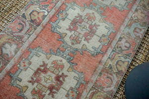 2'10 x 9'6 Vintage Turkish Runner Muted  Red, Blue and Gray