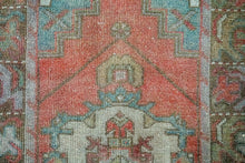 Load image into Gallery viewer, 2'10 x 9'6 Vintage Turkish Runner Muted  Red, Blue and Gray
