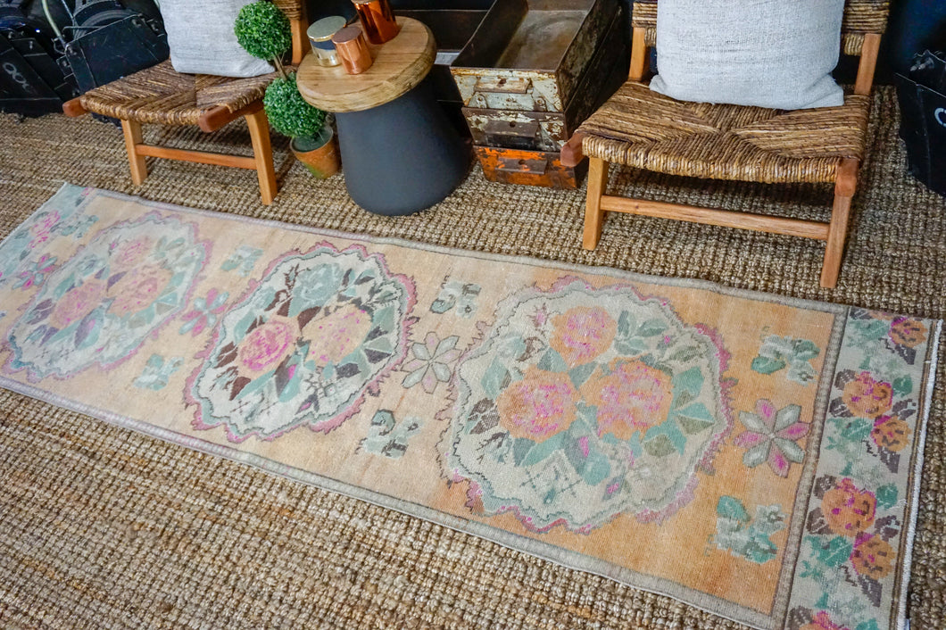 Sold 9/26*2'8 x 9'8 Vintage Turkish Bessarabian Runner Muted Apricot, Ecru, Mint and Pink