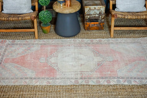 3'3 x 7'2 Vintage Turkish Runner Muted  Reds and Greige