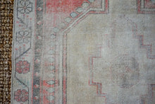 Load image into Gallery viewer, 3'3 x 7'2 Vintage Turkish Runner Muted  Reds and Greige