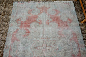 4'4 x 7'6 Oushak Rug Muted Gray, Red + Blue Vintage Carpet