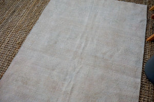 4'6 x 8' Oushak Rug Muted Gray, Pink and Beige Vintage Carpet
