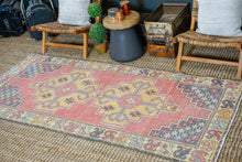 Load image into Gallery viewer, 3'10 x 8'5 Oushak Rug Muted Red, Golden Apricot and Gray Vintage Carpet