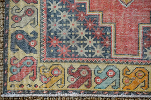 3'10 x 8'5 Oushak Rug Muted Red, Golden Apricot and Gray Vintage Carpet