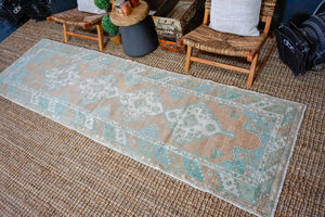 3'3 x 10'7 Vintage Turkish Runner Muted Copper, Mint Green and Cream