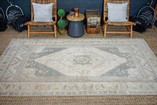 Load image into Gallery viewer, 5'7 x 9'5 Oushak Rug Muted Sage Green and Beige Vintage Carpet