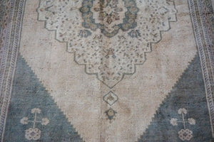 5'7 x 9'5 Oushak Rug Muted Sage Green and Beige Vintage Carpet