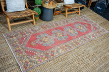 Load image into Gallery viewer, 3'4 x 8'10 Vintage Turkish Runner Muted Red, Gray, Olive and Salmon