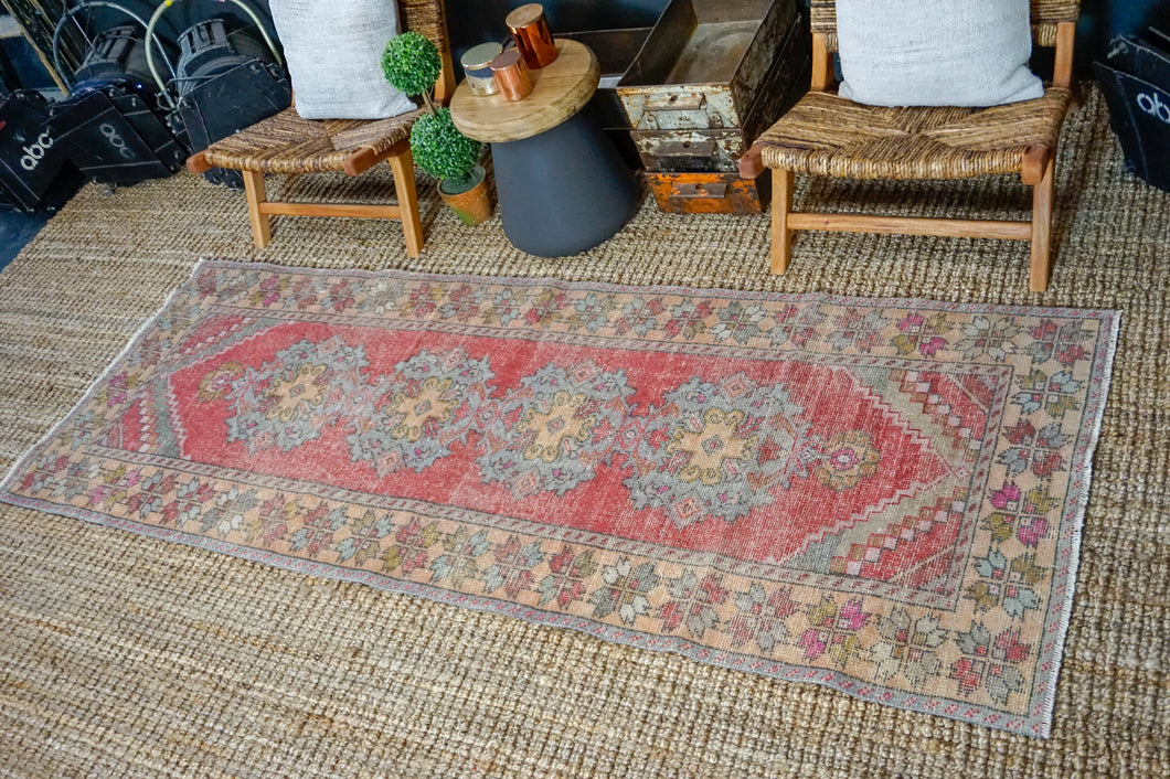 3'4 x 8'10 Vintage Turkish Runner Muted Red, Gray, Olive and Salmon