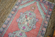 Load image into Gallery viewer, 2'11 x 9'3 Vintage Turkish Runner Muted Red, Light Blue, Gray & Pink