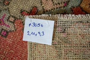 2'11 x 9'3 Vintage Turkish Runner Muted Red, Light Blue, Gray & Pink