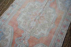 4'9 x 7'9 Oushak Rug Beige with Salmon,Blue and Pink Roses Vintage Carpet