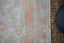 Load image into Gallery viewer, 4'9 x 7'9 Oushak Rug Beige with Salmon,Blue and Pink Roses Vintage Carpet