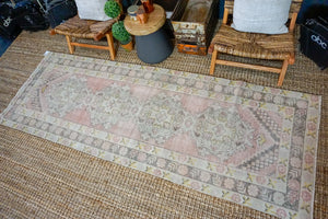 3'4 x 9'10 Vintage Turkish Runner Muted Greige, Beige, and Red